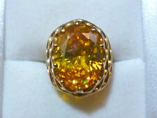 Gold Plated Citrine Zirconia Cocktail Ring Size 8
