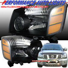 Set of Pair OE Style Black Housing Headlights for 2004-2015 Nissan Titan