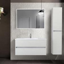 Mobile bagno sospeso 2 cassetti con lavabo in ceramica 80 cm bianco frassinato