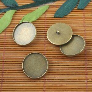 10pcs antiqued bronze color round button design cabochon settings G252