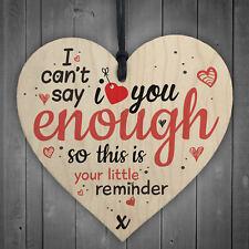 Love You Enough Wooden Hanging Heart Anniversary BFF BOYFRIEND Girlfriend Gifts