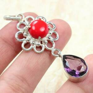 """Red Coral & Amethyst 925 Silver Plated Pendant of 2.1"""" ST-64875"""