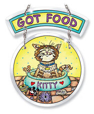"Got Food Sun Catcher AMIA Kitty Cat Beveled Glass New 6 3/8"" Food Dish Mouse Toy"