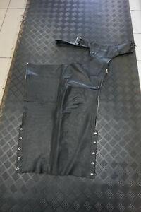 Bonus Genuine Leather Motorcycle Riding Chaps Black Size XL