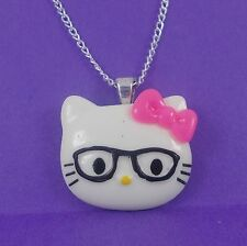 Collana Hello Kitty Nerd Occhiali Rosa Kitsch Kawaii Harajuku SANRIO Girlie