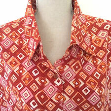 Kaleidoscope Women's Plus Sz 22 Blouse Long Sleeve Red Print