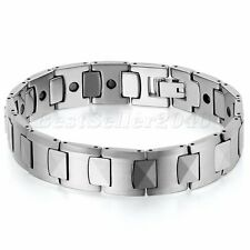 "Heavy Tungsten Carbide Men Unisex Wide Link Black Magnetic Health Bracelet 7.8"""