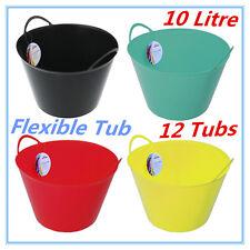 12 X 10l Flexi Tub Garden Flexible Colour Toy Storage Container Bucket Basket