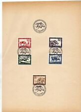 FRANCOBOLLI 1946 AUSTRIA GRAN PREMIO IPPICO 5 VALORI SU DOCUMENTO 20/10 D/9625