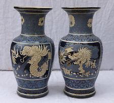 Vietnam paire de vases Bien Hoa H.53 cm décor asiatique DRAGON Indochine