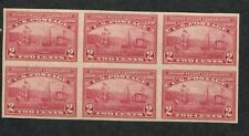 1909 US Stamp #373 2c Mint Never Hinged Very Fine OG Imperf Block of 6