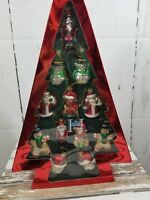 Huntington Xmas Holiday ornament set Santa Snowman Bear Gingerbread glass blown