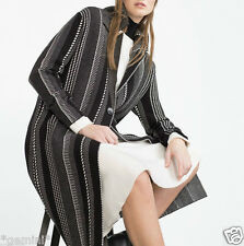 ZARA SIZE S M 40 STRICKMANTEL MANTEL SCHALKRAGEN LONG JACQUARD KNIT COAT JACKET