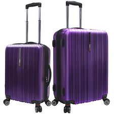 "Traveler's Choice 2pc 21""/25"" Purple Tasmania Polycarbonate Spinner Suitcase Set"