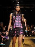 VERSACE for H&M Fringe Pink Heart Print Black Silk Dress 34 EU 4 US 8 UK