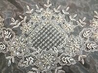 "45x45"" Square Embroidery Handmade Beaded Pearl Sheer Embroidered Tablecloth"