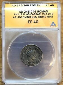 AD245-246 ANACS EF40 Roman Philip II As Ceasar, Rome Mint NH604