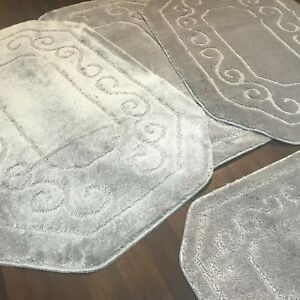 ROMANY WASHABLE GYPSY MATS 4PCS SETS 75X125CM NON SLIP SILVER GREY CARPETS