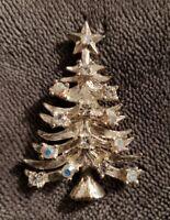 Vtg Silvertone EISENBERG ICE Christmas Tree Brooch Pin clear AB Aurora stone