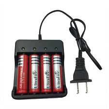 4X 18650 3.7V 6800mAh Li-ion Rechargeable Battery & 4.2V Charger US Plug