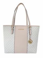 Michael Kors Jet Set Travel Medium Carryall Tote Vanilla MK Stripe Ballet Pink