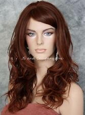 Striking Wavy Long HEAT SAFE WIG w. Bangs Dark Auburn Copper Red mix WBSY 33/130