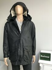 £299 Barbour White Label ENDURANCE Wax Waxed Hood Coat Jacket Navy Blue 42 L NEW