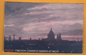 Novelty- Hold to light Puzzle- Find how London is guarded at night.  Postcard