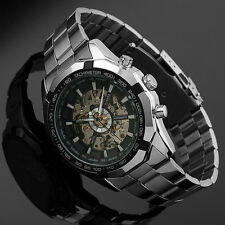 Cool Elegant Automatic Mechanical Skeleton Analogue Fat Steel Band Wrist Watch