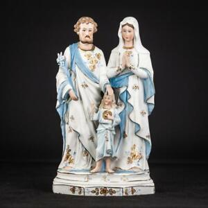 "Holy Family Statue | St Joseph Virgin Mary Jesus Figure |Bisque Porcelain 12.2""_"