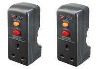 2x Masterplug Safety RCD Plug In Circuit Breaker Garden Power Tools Trip Switch