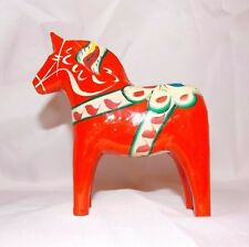 Vintage Swedish Dala Horse Carved Wood Folk Art,-John Gudmunds Rättvik Orange