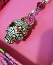 NWT! Betsey Johnson Pink Rhinestone SKULL Rose Necklace with Bow Earrings CUTE