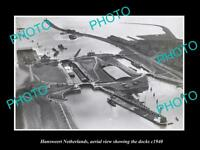 OLD LARGE HISTORIC PHOTO HANSWEERT NETHERLANDS HOLLAND AERIAL VIEW OF DOCK c1940