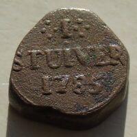 VOC Ceylon Dutch East Indies Stuiver 1785, Copper 21mm 12.91g KM# 26