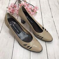 ETIENNE AIGNER VILLE Tan Leather Womens Heel Dress Shoe Size US 71/2M