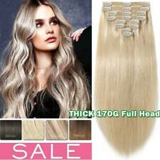 Luxury THICK 170g++ Double Weft Clip In Remy Human Hair Extensions Full Head US