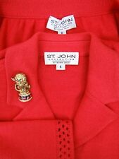 ST JOHN COLLECTION Skirt Suit SIZE 6 8 Coral Circus Lion Brooch Santana Knits