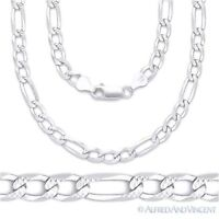 6mm Figaro Link Chain Diamond-Cut Pave Necklace Solid .925 Italy Sterling Silver