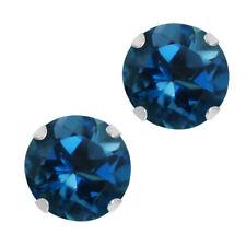 1.20 Ct Round 5mm London Blue Topaz 10k White Gold Stud Earrings