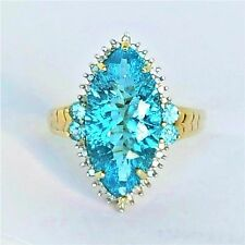 Womans 10k Solid Gold Ring Large 8ct Blue Topaz Diamond Victoria Wieck Sz 9 1/4