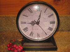 """Cute Rustic Table Mantle Desk Clock Dark Brown Metal 6"""" x 7.5"""""""