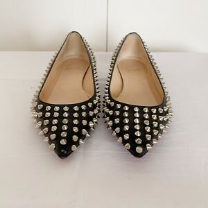 Christian Louboutin Pigalle Spikes Flat In Black/Silver Sz 37.5