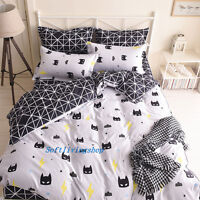 Black Batman Single/Double/Queen/King Size Bed Quilt/Doona/Duvet Cover Set