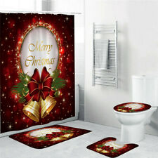 4pcs Shower Curtain Christmas Bell Bath Mat Rug Waterproof Christmas Decor Gift