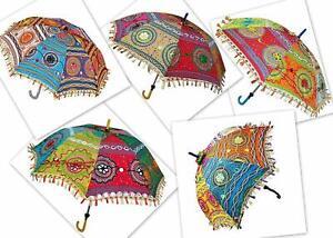 Wholesale Weeding Decorative Indian Sun Shade Parasol Embroidered Umbrella Decor