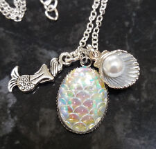 Rainbow AB Irridescent Oval Mermaid Scales Necklace & Pearl Sea Shell Charm 47cm