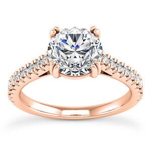 1.35 Carat VS2 G Round Brilliant Cut Diamond Engagement Ring Rose Gold Enhanced
