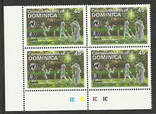 DOMINICA 1985 International Youth Year SINGLE CRICKET Value PLATE BLOCK of 4 MNH
