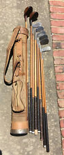 8 Antique Hickory Golf Clubs and Spalding Canvas Leather bag man cave Gift